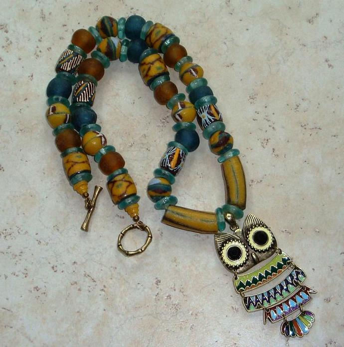 Krobo Bead Owl Pendant Necklace