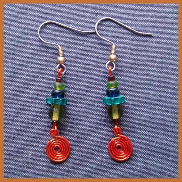 Kiwi Orange Spiral Earrings