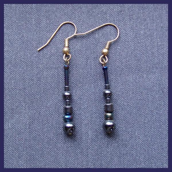 Hematite Peacock Spindle Earrings