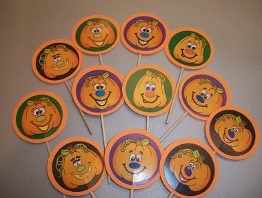 12ct Assortment of Happy pumpkins Cupcake Toppers /sale