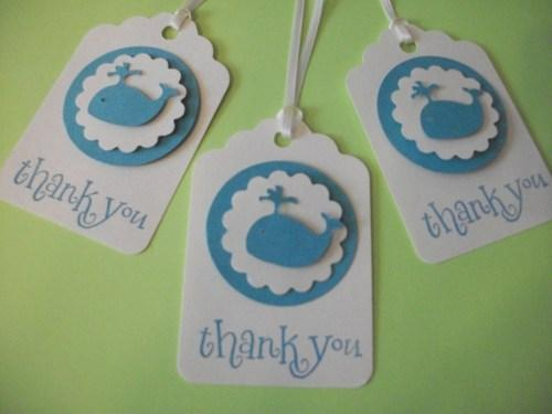 3D Baby Whale Blue on white Textured cardstock Thank You Hang Tags set