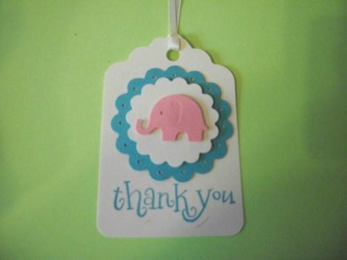 3D Pink and white/blue Baby elephant Thank You Hang Tags / set of 6