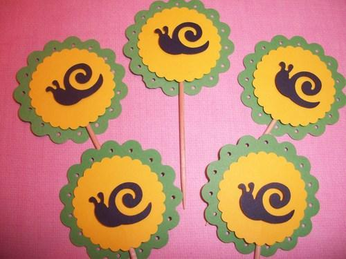 3D Cute green and Yellow Scallop Garden Party Snail Cupcake toppers