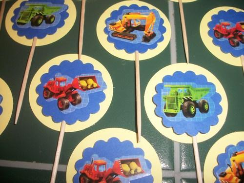 12ct Little Boys Toys trucks assortment cupcake toppers Food picks