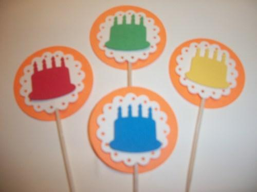 3D Orange scallop Multi color cake cupcake toppers/food picks