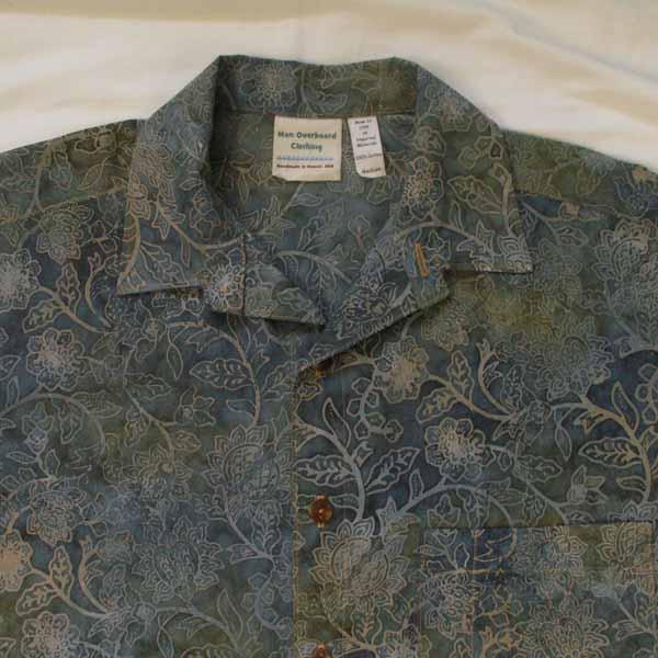 Slate Blue / Tan Floral Batik Cotton Aloha Mens Shirt - Size Medium