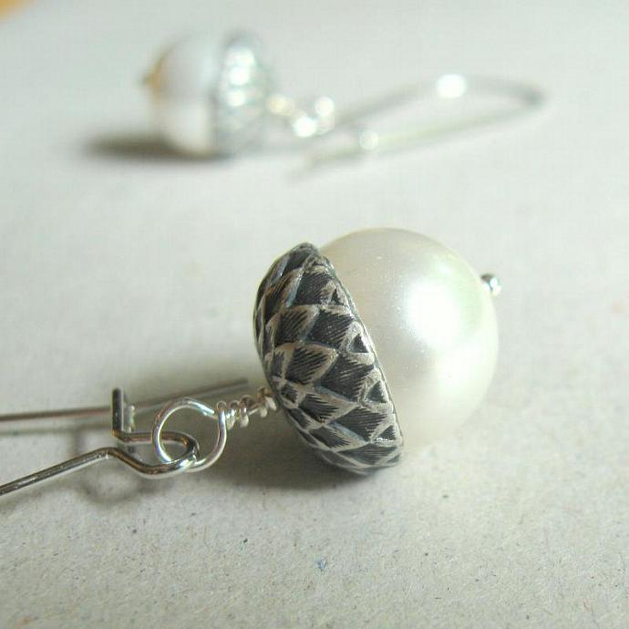 Silver Acorn Pearl Acorn Earrings