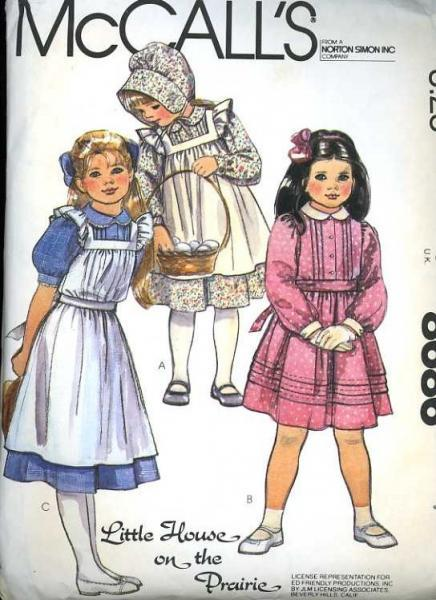 McCalls 8686 Sewing Pattern Girls Laura Ingalls Prairie Dress Pinafore Bonnet