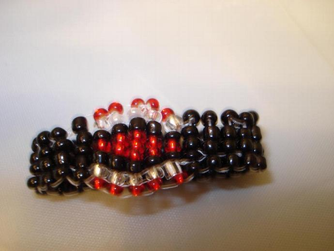 Black Widow Seed Bead Ring