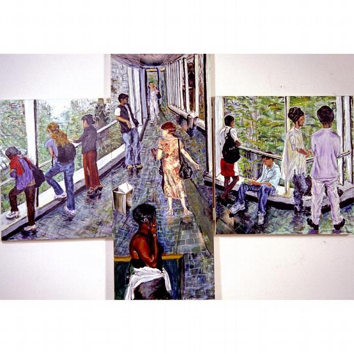 Crosswalk Gestures (Original Triptych Painting)