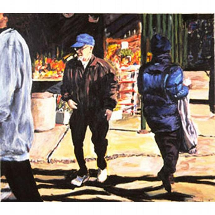 January Jog: Crossing (Cityscape With Figures)