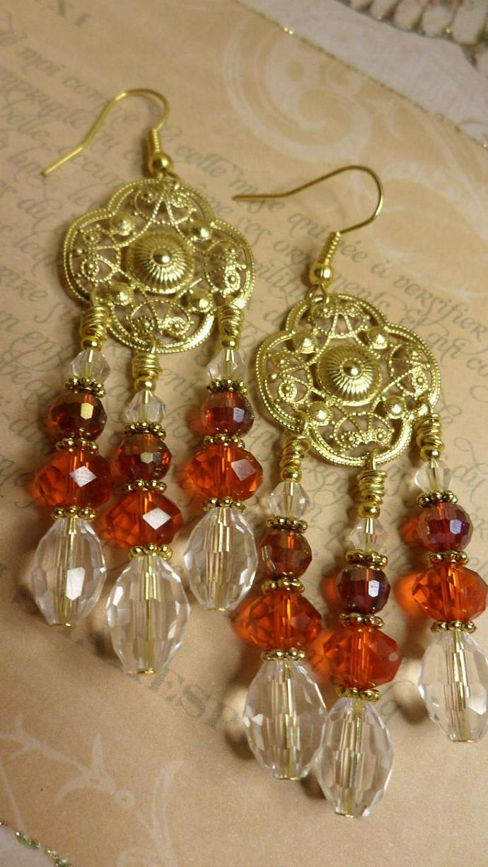 Stunning Red & Regal Crystal and Gold Earrings