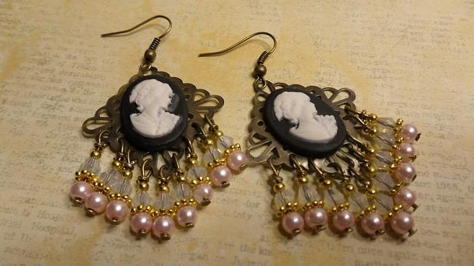 Antique Bronze Vintage Style Cameo Chandelier Earrings