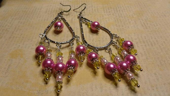 Pink  Swarovski & Yellow Pearls Teardrop Hoop Earrings