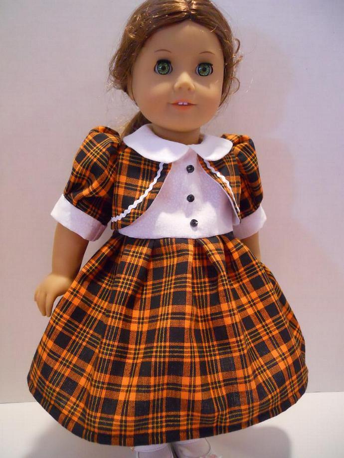 American Girl Fall Doll Dress Orange Black Plaid Outift Halloween