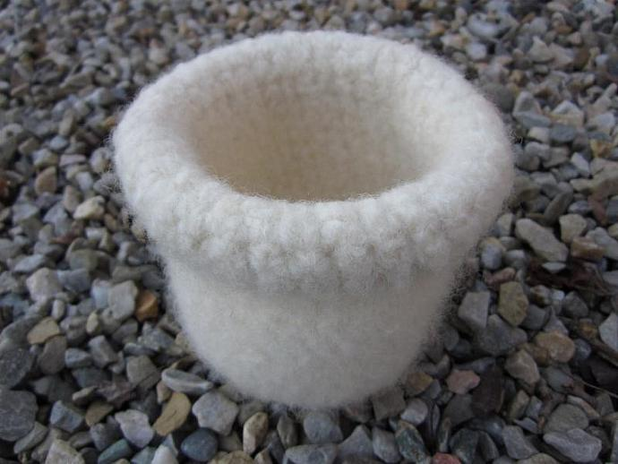 Pure White Felted Homespun Wool Bowl