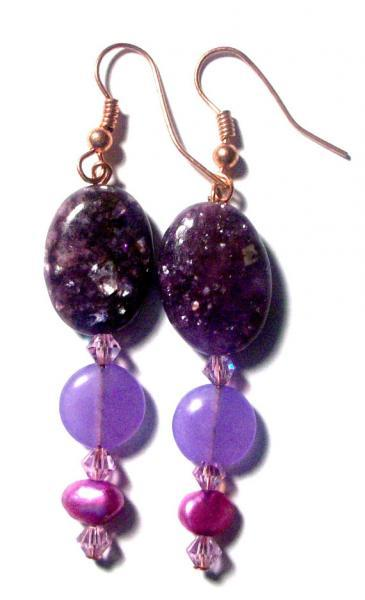 "Earrings: ""I Am Whole"" Purple Labradorite, Purple Jade and Purple Fresh Water"