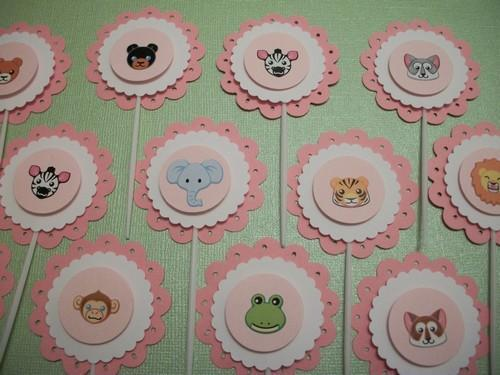 3D Scallop Baby Zoo Animals Cupcake toppers / 12ct