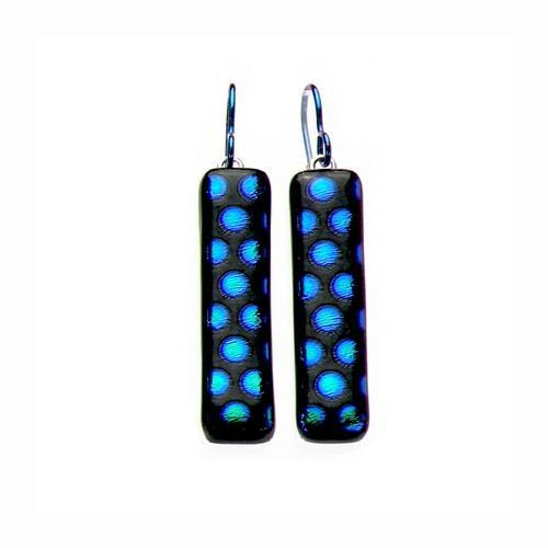 Handmade Art Glass Metallic Blue Dot Sparkle Dangle Earrings