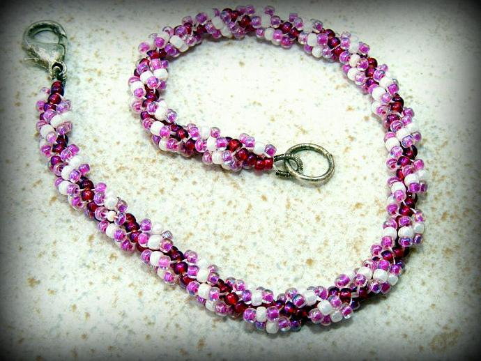 Raspberries and Cream Spiral Bracelet