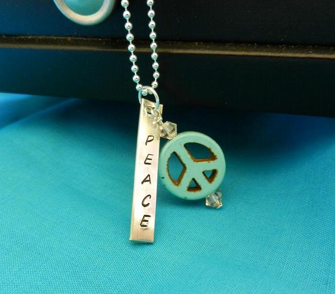 """PEACE"" Hand Stamped Sterling Silver Pendant w/ Turquoise Peace Bead & Swarovski"