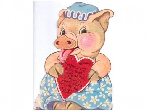 Mechanical Valentine Card Vintage – Pig Valentine Cards