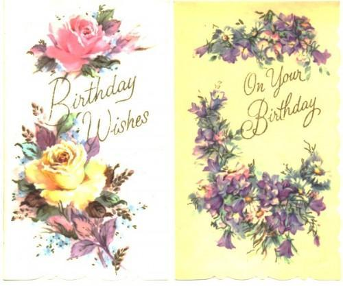 Vintage Wedding Card Unused Greeting Card 1960s 1950s: 2 Birthday Greeting Cards Roses By SandyCreekCollectables