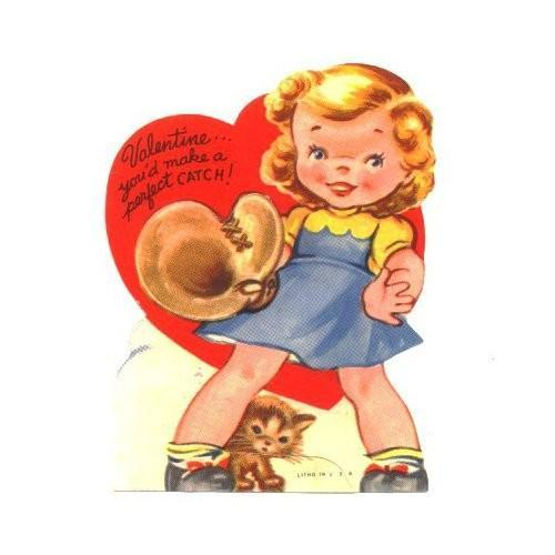 Vintage Valentines Day Card Girl by SandyCreekCollectables on Zibbet – Girl Valentine Cards