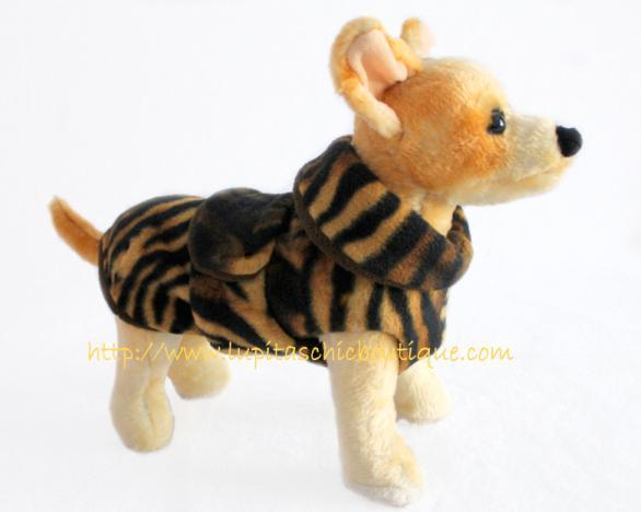 Warm Coat for Dog in Tiger Print Fleece. Take a Walk on the Wild Side Burrito