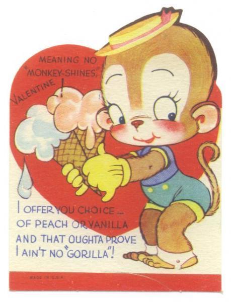 Vintage valentine card 1940s Monkey by SandyCreekCollectables on – Monkey Valentine Cards