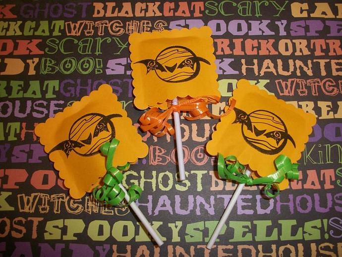 Halloween Candy Pop Sleeve favors / Moon and Bat / school / giveaway / door