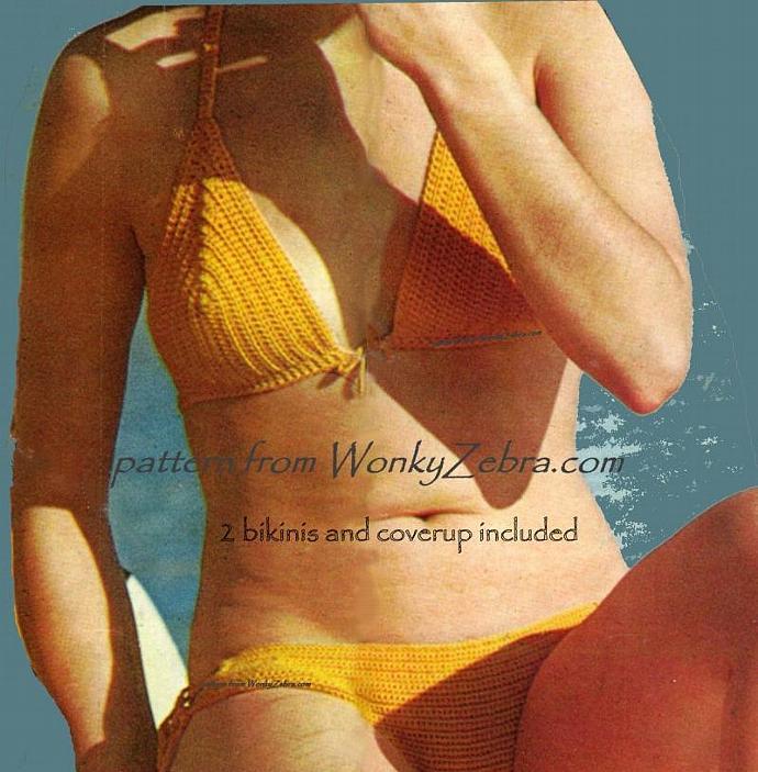 Vintage Crochet Pattern 051 Zesty Lime Bikinis from WonkyZebra