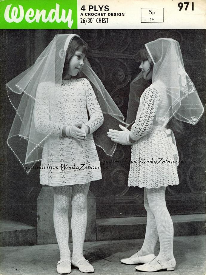 Vintage Crochet Pattern 079 PDF Confirmation Dresses from WonkyZebra