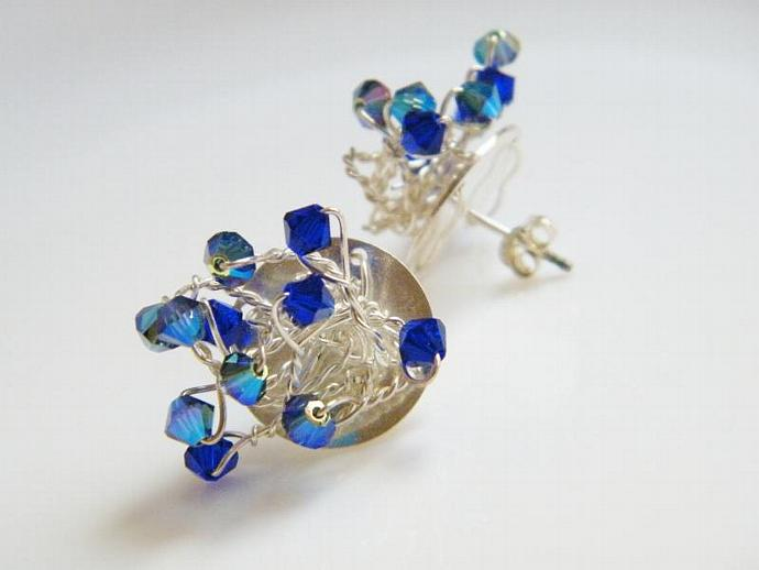 Sapphire Blue Earrings Swarovski Crystal Sterling Silver