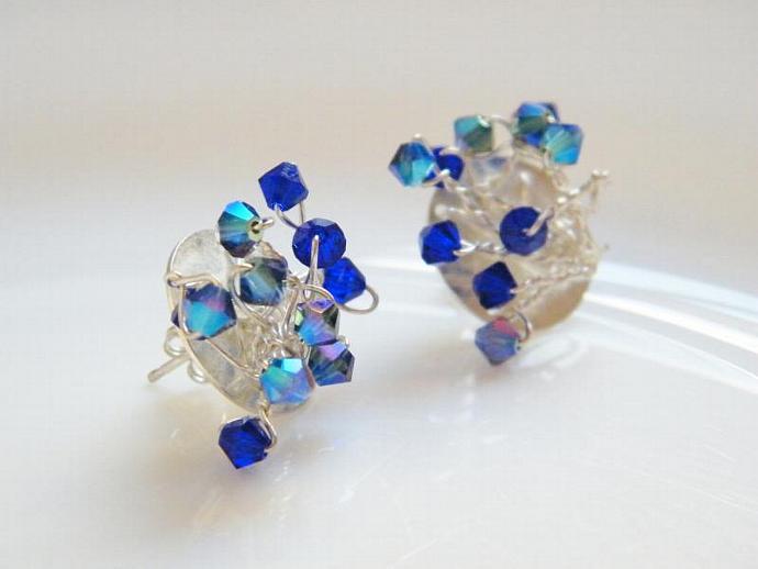 Sapphire Blue Earrings Swarovski Crystal Sterling Silver