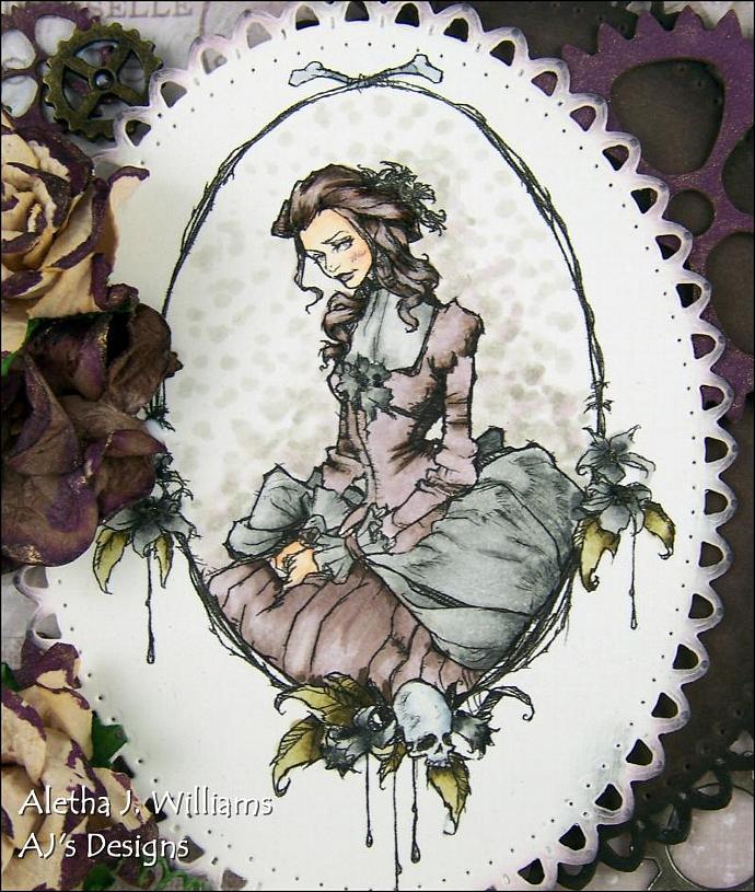 Steampunk Portrait handmade OOAK blank greeting card