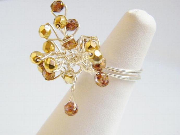 Golden and Copper Ring Swarovski Crystal Silver Plated