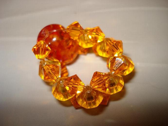 Orange Sparkle Bead Ring