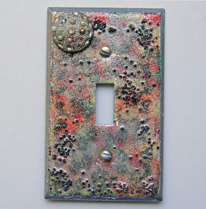 Silver Space Decorative Embellished Light Switch Plate Cover - Mini Vignette -