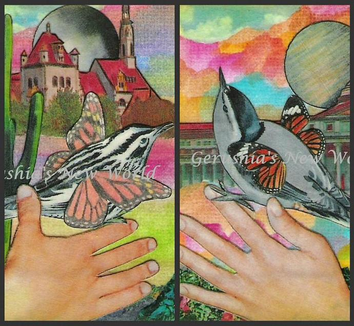 Simple Birds ~ ACEO Watercolor Collage Print Set