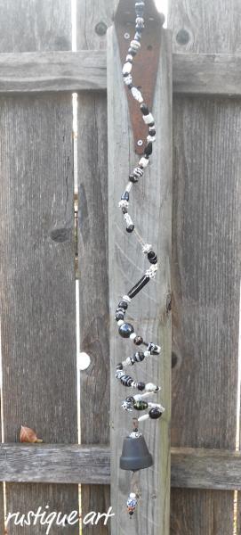 Black & White Beaded Spring Bell Chime