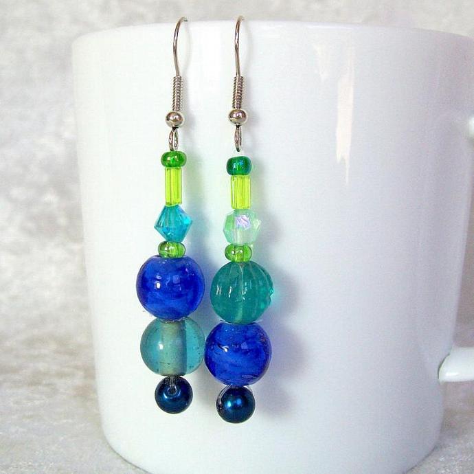 Beaded Dangle Earrings, blue and green