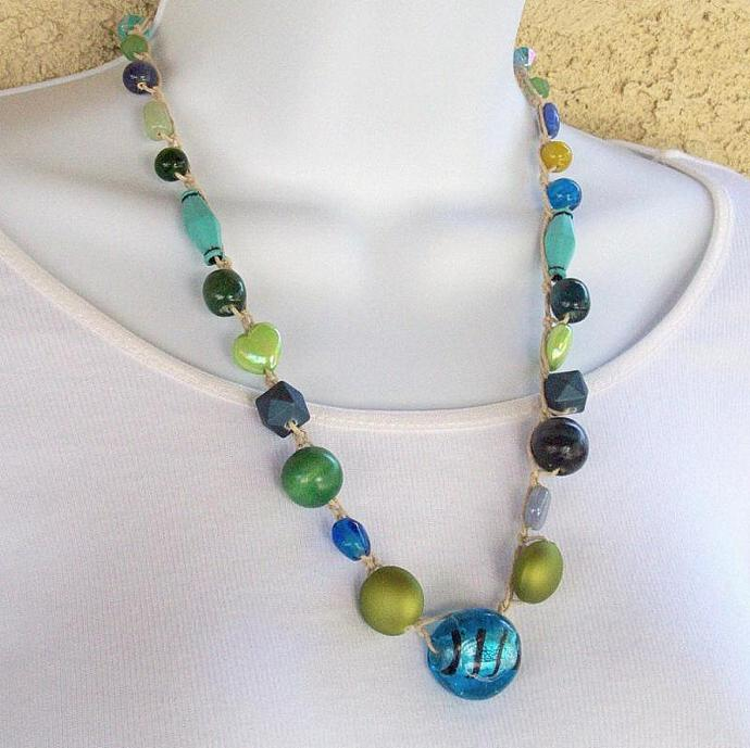 Necklace, Blue and Green Beads crocheted on hemp