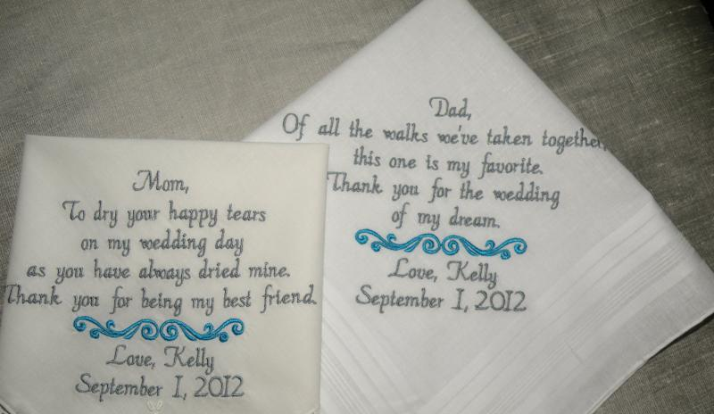 Bride Gift Father Of The Sayings: Two Personalized Embroidered Wedding