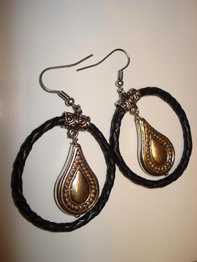 SOLD Braided Black Leather Hoop Earrings with Teardrop Dangle