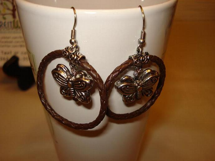 Braided Brown Leather Hoop Earrings with Butterfly Dangle
