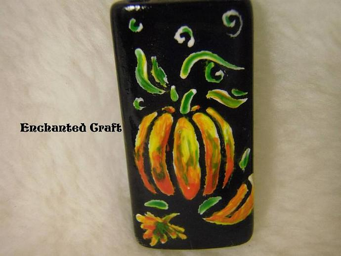 magnet- Autumn Pumkins hand painted bamboo tile