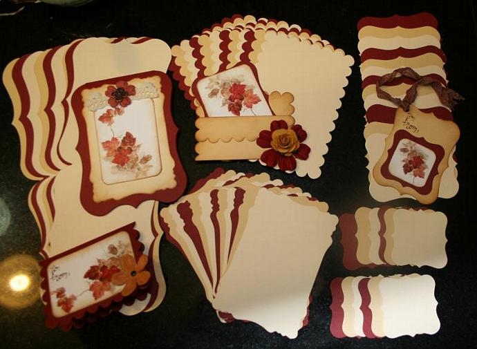 Burgandy and creams cards and mats CM112