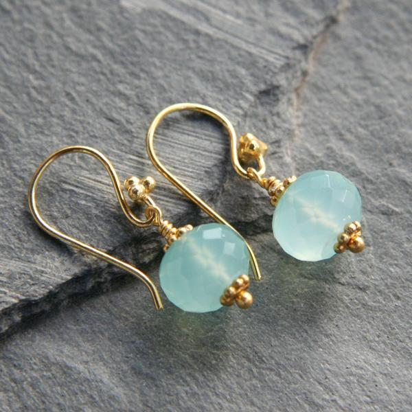 Chalcedony and Gold Earrings