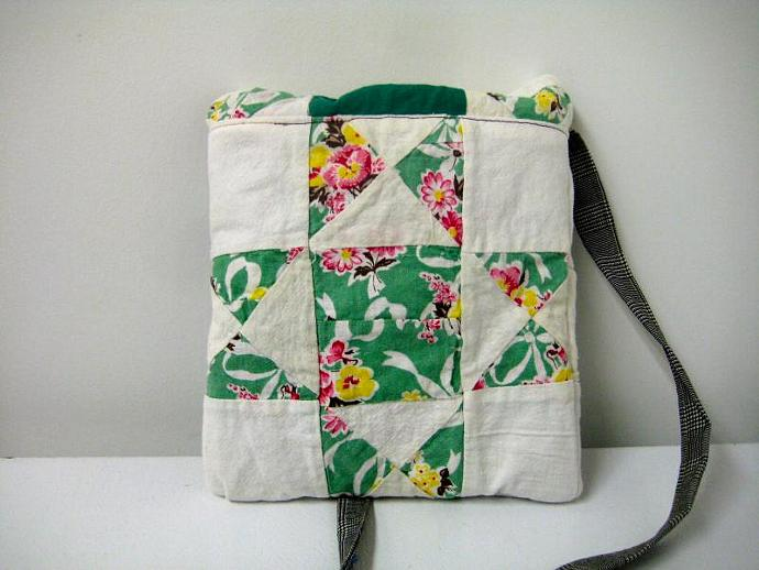 Festival Bag - Pink and Yellow Flowers - Shoulder Strap - Quilt Block -